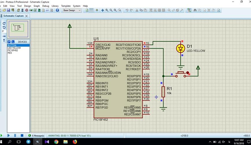 روشن و خاموش کردن LED توسط کلید با میکروکنترلر PIC